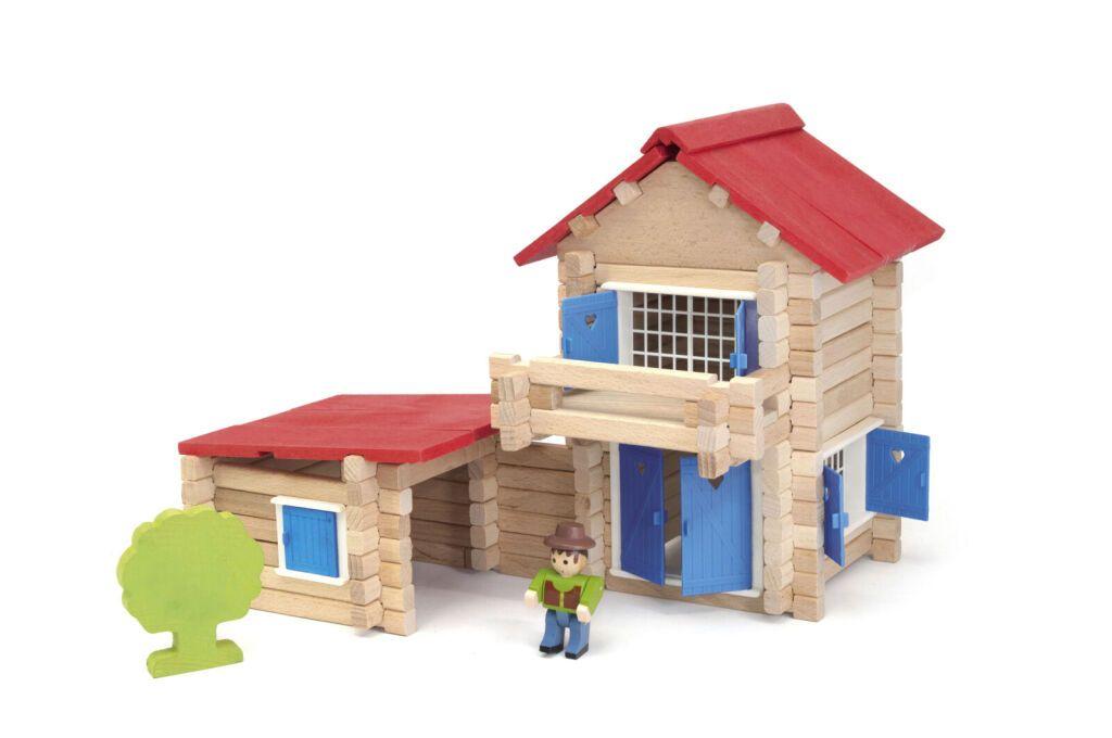 Jeujura Dřevěná stavebnice 140 dílků domeček