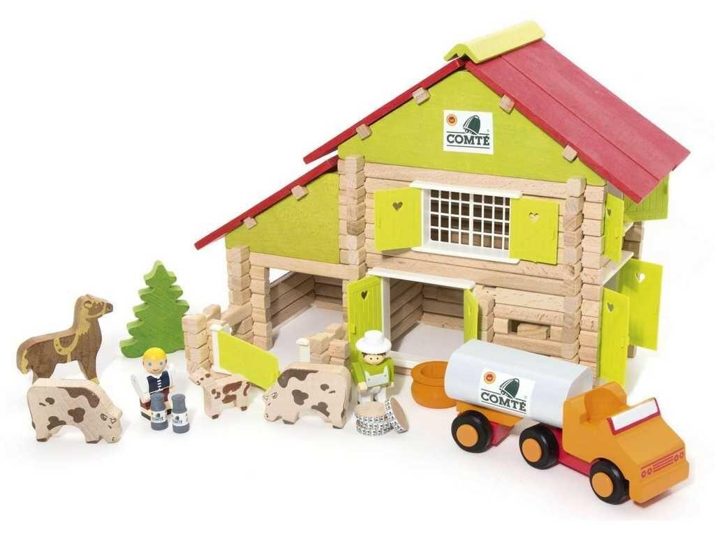 Jeujura Dřevěná stavebnice 180 dílů velká farma