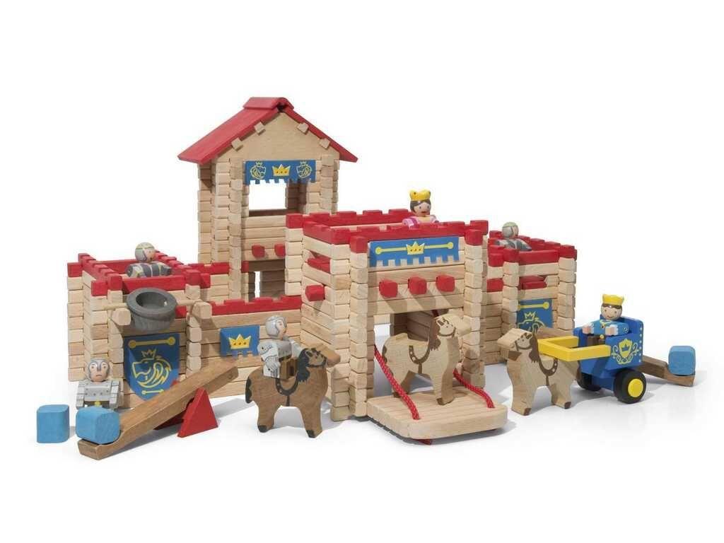 Součásti balení je vše dle obrázku. Tato dřevěná stavebnice potěší každého malého stavitele a stane se krásnou ozdobou dětského pokoje. Díly stavebnic Jeujura lze mezi sebou kombinovat, stavby rozšiřo