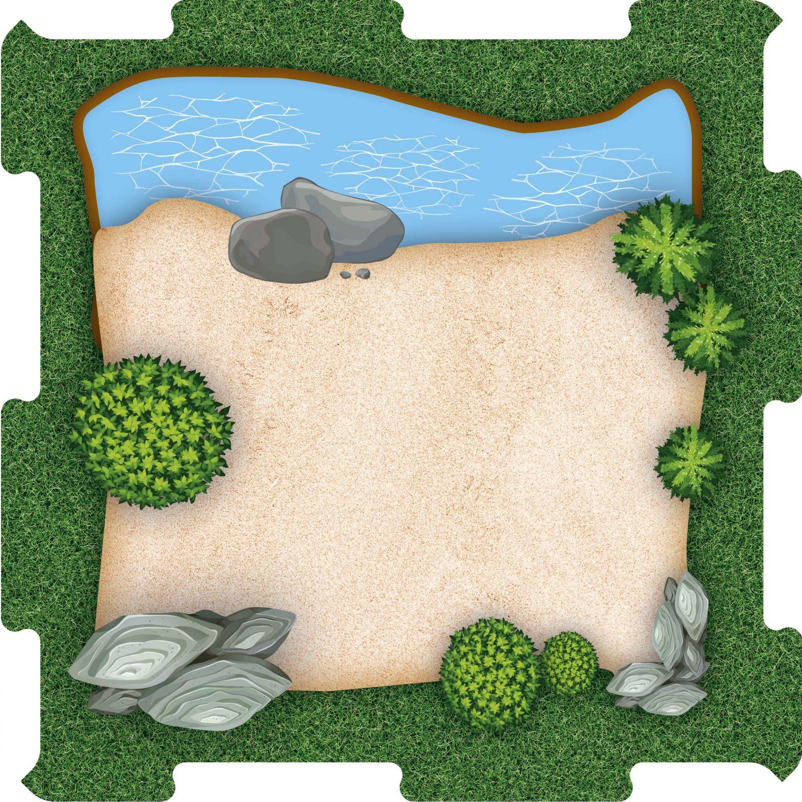 Podlahové puzzle Zoo výběh pískový s jezírkem