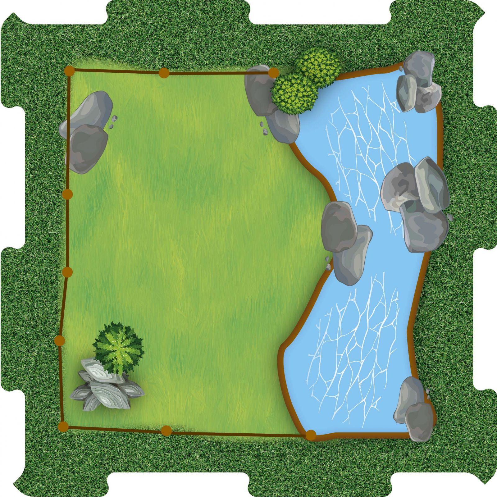Podlahové puzzle Zoo trava s jezirkem