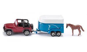 SIKU Auto Jeep Wrangler s přívěsem pro koně