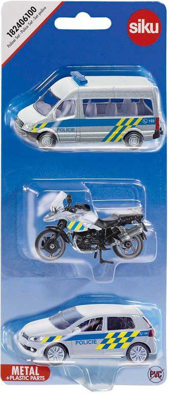 SIKU Set auto osobní Policie 2ks + motocykl česká verze CZ 1824