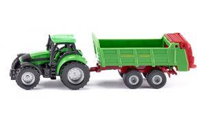 SIKU Model traktor Deutz s vlekem zelený