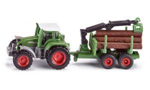 SIKU Traktor Fendt s přívěsem na kulatinu Do lesa