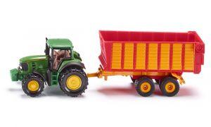 SIKU Traktor John Deere s přívěsem na siláž kovový