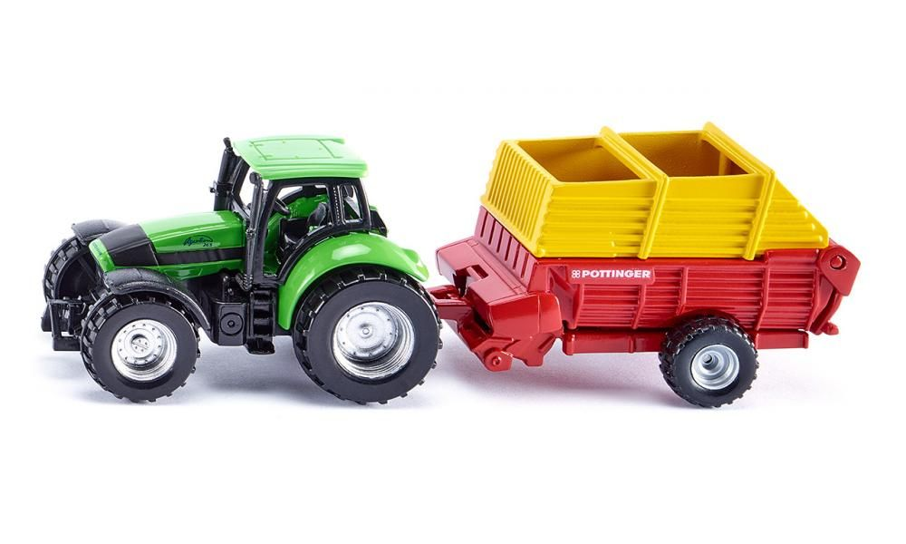 SIKU Traktor zelený Deutz set s vlekem Pottinger Boss Alpin model kov 1676