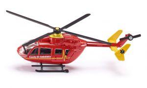 SIKU Vrtulník červený záchranářský ambulance model kov 1647 01